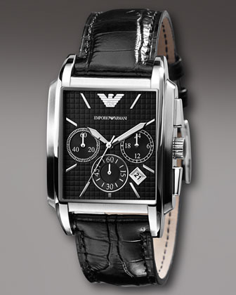 Square Chronograph Watch, Black