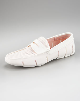 Rubber Penny Loafer, White