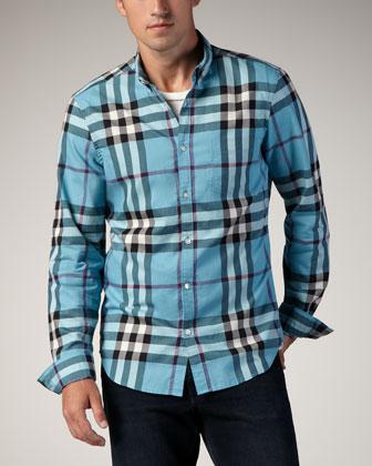 Check ButtonDown Sport Shirt Kingfisher