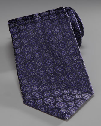 Medallion Silk Tie, Blue/Black