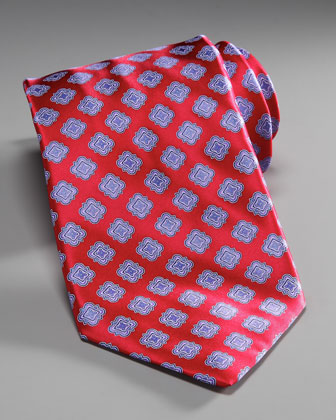 Medallion Silk Tie, Red/Blue