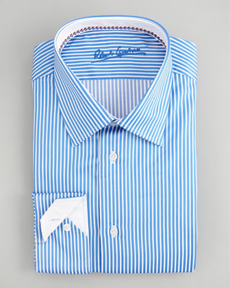 Alfie Striped Dress Shirt, Sky/White