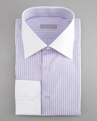 Striped French-Cuff Dress Shirt, Purple/White