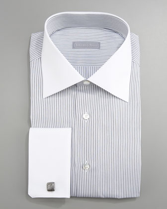 French-Cuff Striped Dress Shirt, Gray/White