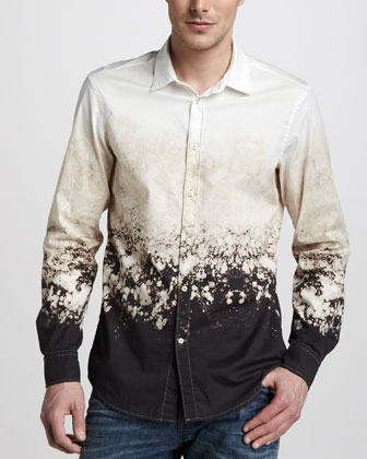Bleach-Print Sport Shirt