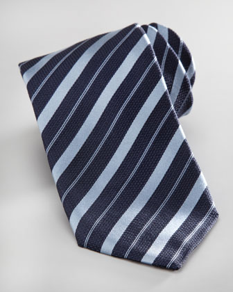 Striped Silk Tie, Navy/Blue