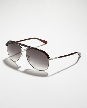 Marco Aviator Sunglasses, Ruthenium/Havana