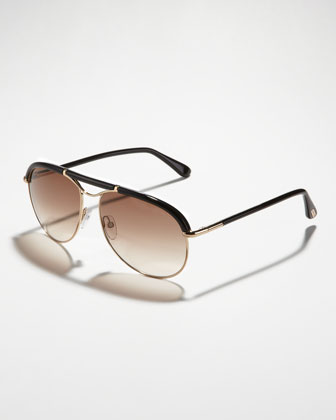 Marco Aviator Sunglasses, Rose Gold/Black