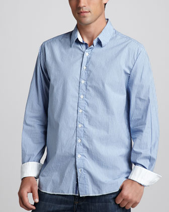 Striped Sport Shirt, Blue/White