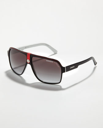 Plastic Sport Aviator Sunglasses, Red/Black