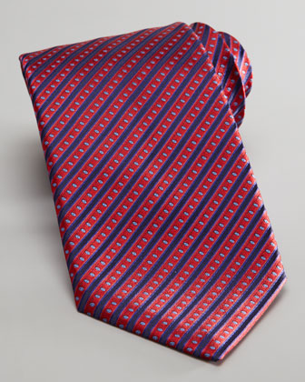 Stripe-Dot Silk Tie, Red/Navy