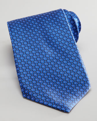 Circle Neat Silk Tie, Navy