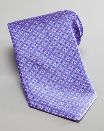 Medallion Silk Tie, Purple/Blue