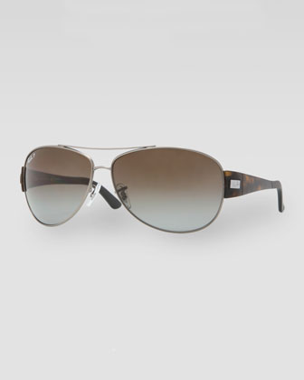 Polarized Aviator Sunglasses, Matte Havana