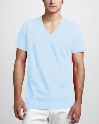 Bedros Jersey V-Neck Tee, Light Blue