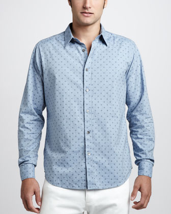 Dot-Print Sport Shirt, Chambray