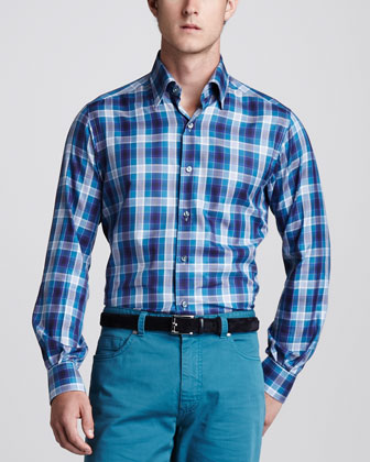 Bold Plaid Sport Shirt