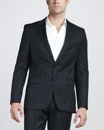 Plaid Virgin Wool Blazer, Charcoal