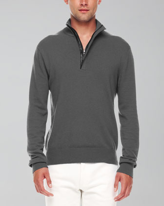 Leather-Trim Half-Zip Sweater, Ash Melange