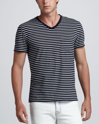 Striped Cotton/Linen Tee, Coastal/White