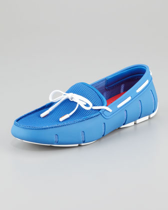 Lace-Up Mesh/Rubber Loafer, Regatta Blue/White