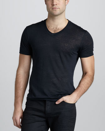 Linen V-Neck Tee, Midnight