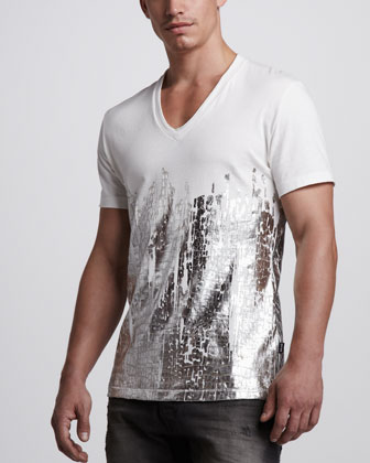 Metallic Croc-Print V-Neck Tee