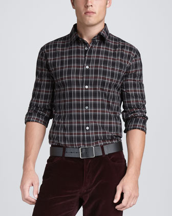 Plaid Sport Shirt, Black