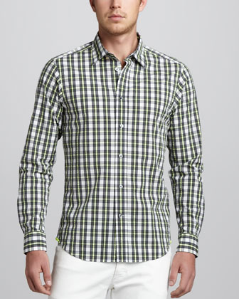 Monochrome Check Sport Shirt, Black/Yellow