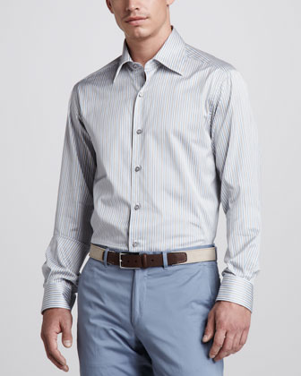 Striped Sport Shirt, Steel Blue/Taupe