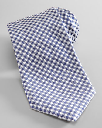 Dot-Back Gingham Silk Tie, Blue/White