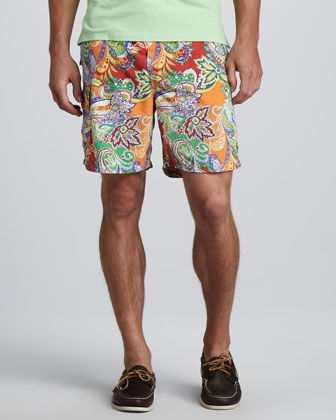 Paisley Swim Trunks, Red