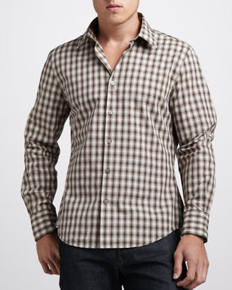 Wire-Collar Plaid Sport Shirt