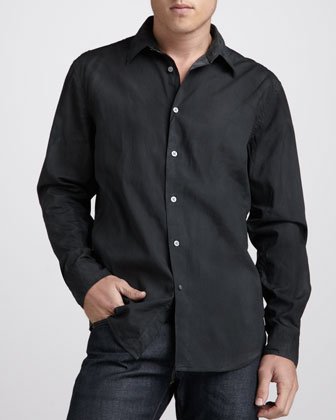Slim-Fit Sport Shirt, Asphalt
