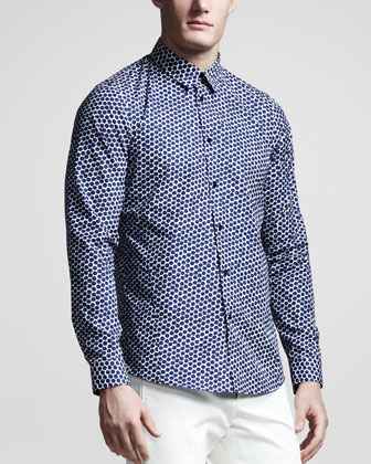 Hexagon-Print Sport Shirt