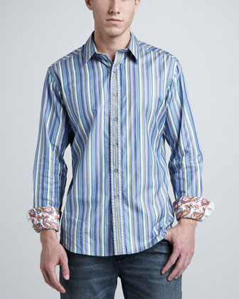 Striped Sport Shirt, Blue