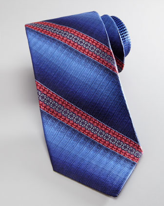 Ombre-Striped Tie, Blue/Pink