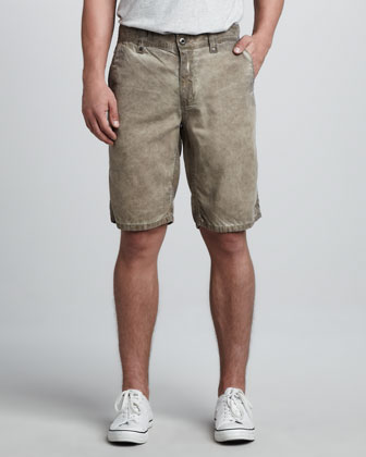 Cowboy Canvas Shorts, Olive Wash