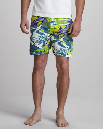 Ocean-Print Swim Trunks
