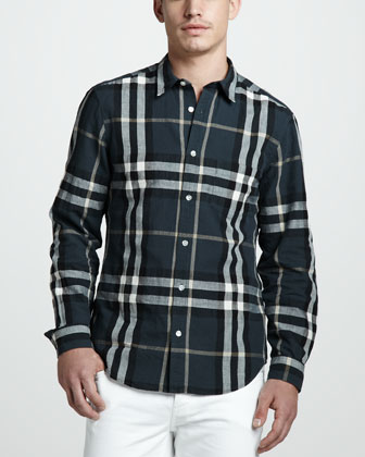 Check Linen-Cotton Shirt