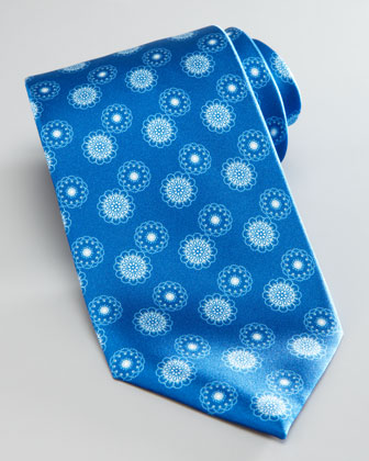Medallion Silk Tie, Royal Blue