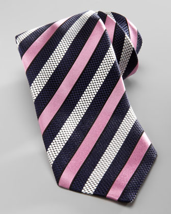 Striped Silk Tie, Navy/Pink