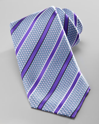 Striped Silk Tie, Purple