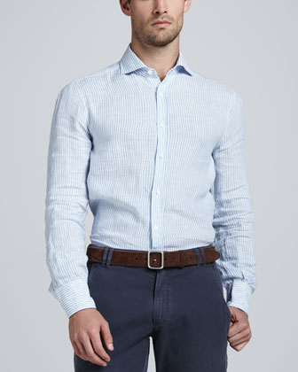 Striped Linen Sport Shirt, White/Light Blue