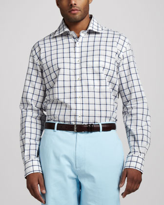 Windowpane-Check Sport Shirt, Syrup