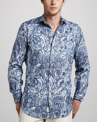Paisley-Print Sport Shirt, Patriot Navy
