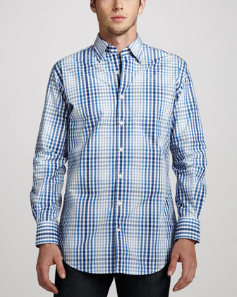 Plaid Sport Shirt, Rebel Blue