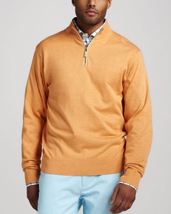 Leather-Trim Zip Sweater, Papaya