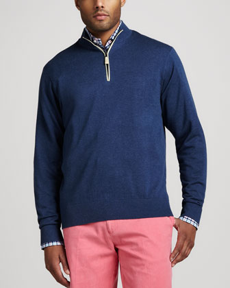 Leather-Trim Zip Sweater, Sport Navy
