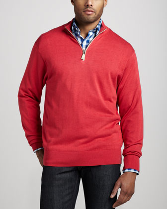 Leather-Trim Zip Sweater, Tango Pink